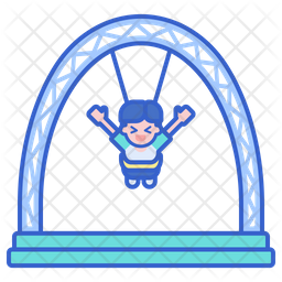Sky Coaster Colored Outline Icon