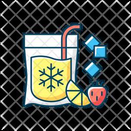 Slushy Drinks To Go Colored Outline Icon