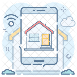 Smart Home Colored Outline Icon