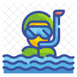 Snorkel Man Colored Outline Icon