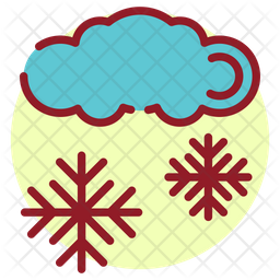 Snow Falling Colored Outline Icon