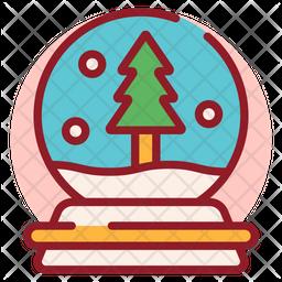 Snow Globe Colored Outline Icon