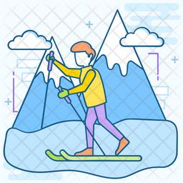 Snow Skiing Icon