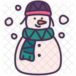 Snowman Colored Outline Icon