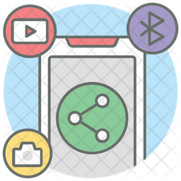 Social Media Sharing Colored Outline Icon