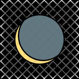 Solar Eclipse Colored Outline Icon