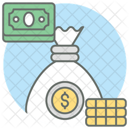 Stack Of Money Colored Outline Icon