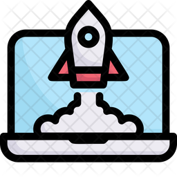 Startup Rocket Lunch Colored Outline Icon