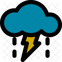 Rain With Storm Colored Outline Icon