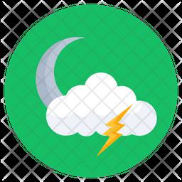 Stormy Night Flat Icon
