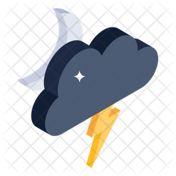 Stormy Night Isometric Icon