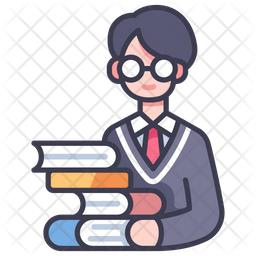 Student With Books Icon