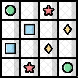 Sudoku Colored Outline Icon