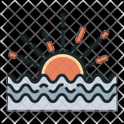 Sunrise Colored Outline Icon
