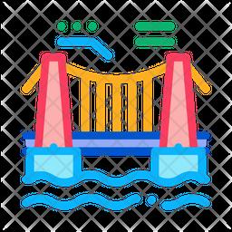 Suspension Bridge Colored Outline Icon
