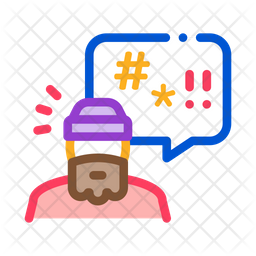 Swearing Beggar Colored Outline Icon