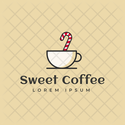 Sweet Coffee Colored Outline  Logo Icon