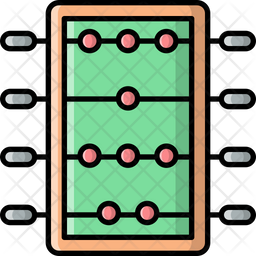 Table Soccer Colored Outline Icon