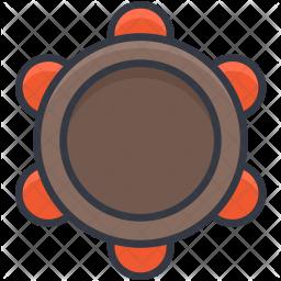 Tambourine Colored Outline Icon