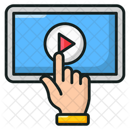 Tap Video Colored Outline Icon