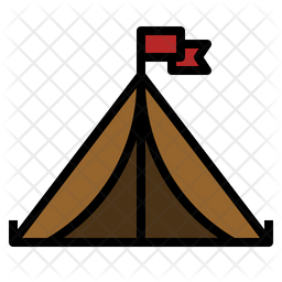 Tent Colored Outline Icon