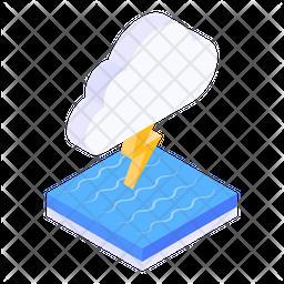 Thunderstorm Isometric Icon