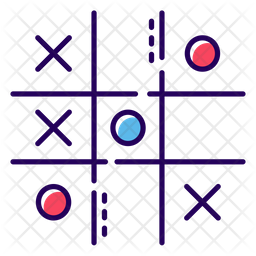Tic Tac Toe Colored Outline Icon