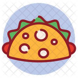 Tortilla Roll Colored Outline Icon