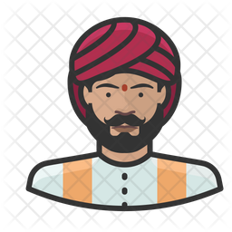 Traditional Indian Man Colored Outline Icon