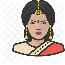 Traditional Indian Woman Colored Outline Icon