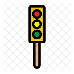 Traffic Light Red Colored Outline Icon