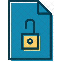 Unlock Document Colored Outline Icon