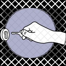 Unlock With Key Dualtone Icon