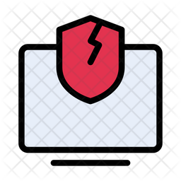 Unprotected Computer Colored Outline Icon