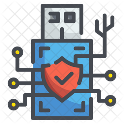 Usb Digital Security Colored Outline Icon