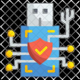 Usb Digital Security Flat Icon