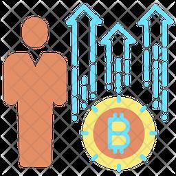 User Bitcoin Value Growth Icon