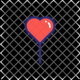 Valentine Balloon Colored Outline Icon