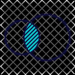 Venn Diagram Colored Outline Icon