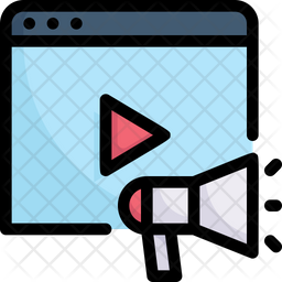 Video Ads Colored Outline Icon