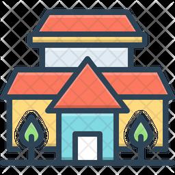 Villa Colored Outline Icon