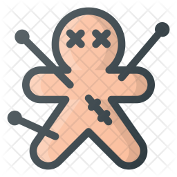 Voodoo doll Colored Outline Icon