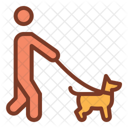 Walking With Dog Colored Outline Icon