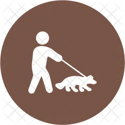 Walking with dog Glyph Icon