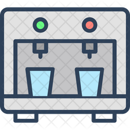 Water Dispenser Colored Outline Icon