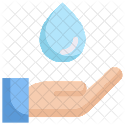 Water on hand Flat Icon