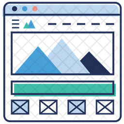 Web mountain graph Colored Outline Icon