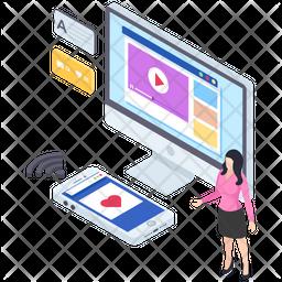 Web Video Isometric Icon