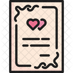 Wedding Card Colored Outline Icon