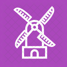 Windmill Line Icon